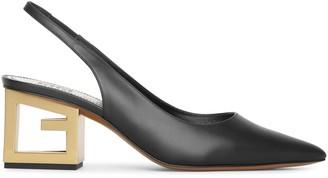Givenchy Triangle black leather slingback pumps