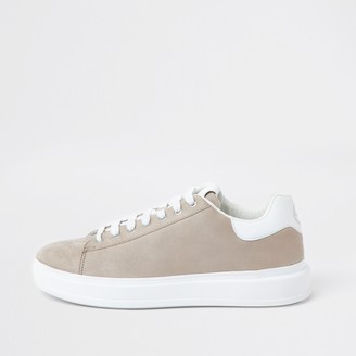 River Island Mens Beige lace-up wedge sole