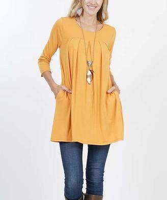 Ash Lydiane Women's Tunics  Mustard Pleated Three-Quarter Sleeve Two-Pocket Tunic - Women