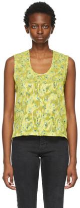 6397 Yellow Floral U-Neck Tank Top