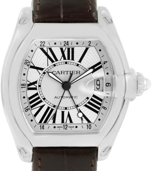 Cartier Roadster GMT W62032X6 Silver Dial Stainless Steel 43mm Mens Watch