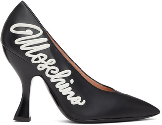 Moschino Black Calfskin Icing Logo Heels