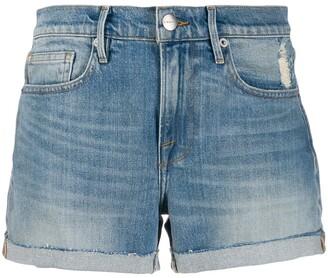 Frame Distressed Denim Shorts
