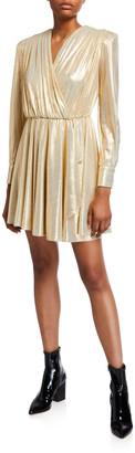 MSGM V-Neck Long-Sleeve Metallic Dress