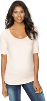 A Pea in the Pod Elbow Sleeve Side Ruched Maternity Tee
