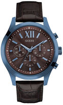 GUESS Blue IP Steel and Brown Leather Strap Chronograph, U0789G2
