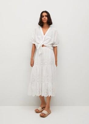 MANGO Broderie anglaise cotton skirt