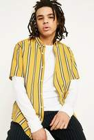 Uo Mustard Stripe Preppy Short-sleeve Shirt