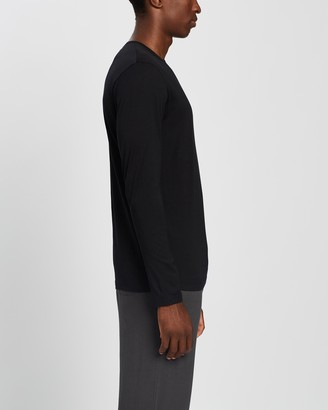 Sunspel Men's Black Basic T-Shirts - Long Sleeve Crew Neck T-Shirt - Size L at The Iconic