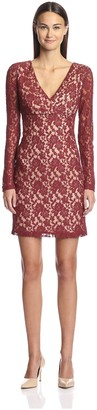 Society New York Women's Long Sleeve V-Neck Lace Dress