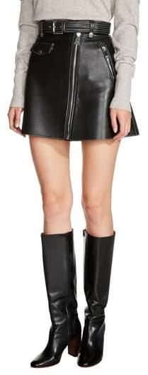 Maje Belted A-Line Leather Miniskirt
