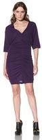 Cut25 Women's Ruched V-Neck Dress