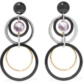 Marni Gold And Silver-tone, Resin And Crystal Clip Earrings - Black