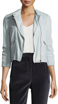 Rebecca Taylor Zip-Front Washed Leather Moto Jacket
