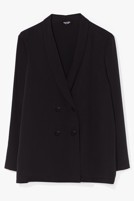 Nasty Gal Womens Work It From Home Plus Double Breasted Blazer - Black - 24