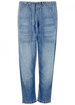 Vince Blue Cropped Wide-leg Jeans