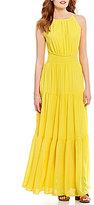GB Sleeveless Tiered Keyhole-Back Maxi Dress