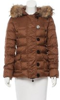 Moncler Fur-Trimmed Mess Puffer Coat