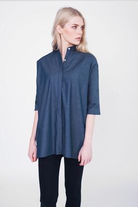 Beaumont Organic Blaine Oversized Cotton Shirt - ML - Blue