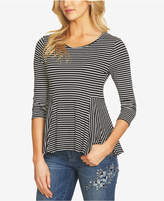 CeCe Striped Peplum Top