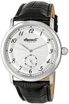 Ingersoll Men's Quartz Watch with Silver Dial Analogue Display and Black Leather Strap INQ003SLSL