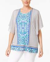 JM Collection Plus Size Flutter-Sleeve Printed Blouse, Created for Macy's