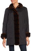 Gallery Spread Collar Faux Fur Coat