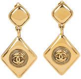 One Kings Lane Vintage 1980s Chanel Diamond-Shaped Earrings - Vintage Lux - gold