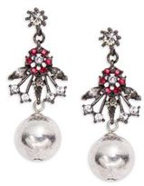 Gerard Yosca Floral and Ball Accented Drop Earrings