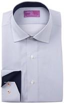 Lorenzo Uomo Diamond Print Trim Fit Dress Shirt