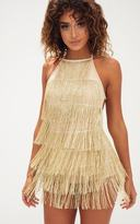 PrettyLittleThing Silver Tassel Playsuit