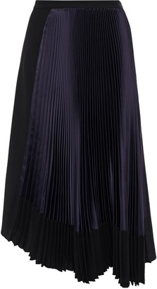 Marni Asymmetric Pleated Satin-paneled Crepe Skirt