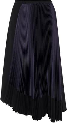 Marni Asymmetric Two-tone Crepe-paneled Pleated Satin Midi Skirt