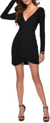 La Femme Long Sleeve Jersey Body-Con Dress