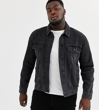 Asos Design DESIGN Plus regular denim jacket in washed black