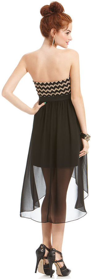 Amy Byer BCX Juniors Dress, Strapless Beaded High-Low