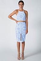 Donna Mizani Medallion Front Slit Midi Skirt
