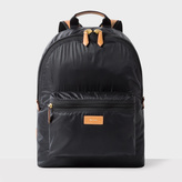 Paul Smith Men's Black Lightweight Backpack With Tan Leather Trims