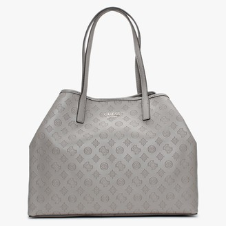 GUESS Large Vikky Stamp Smooth Taupe Tote Bag