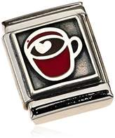 Nomination Composable BIG 332203/01 Ladies' Charm Sterling Silver Oxidised Stainless Steel Enamel Hot Chocolate