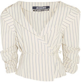 Jacquemus Striped Cotton And Linen-blend Wrap Jacket - Ecru