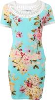 Blumarine Crochet Neck Floral Dress