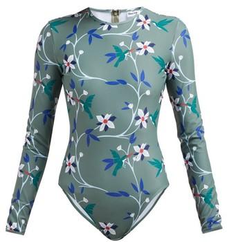 Thorsun Collins Tropical Floral-print Swimsuit - Womens - Khaki Multi