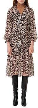 Maje Rapard Animal Print Midi Dress