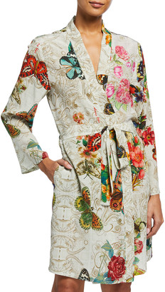 Johnny Was Evelyn Butterfly and Floral Printed Silk Robe
