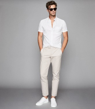 Reiss Dunning - Slim Fit Button Down Oxford Shirt in White