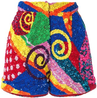 Manish Arora Swirl Patchwork Sequin Shorts
