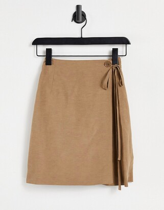 And other stories & linen wrap mini skirt in brown