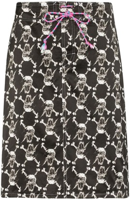 Ashley Williams Skull And Bones Midi Skirt