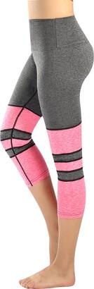 Neonysweets Womens Tummy Control Yoga Capri Pants Workout Leggings With Pocket Gray Black S